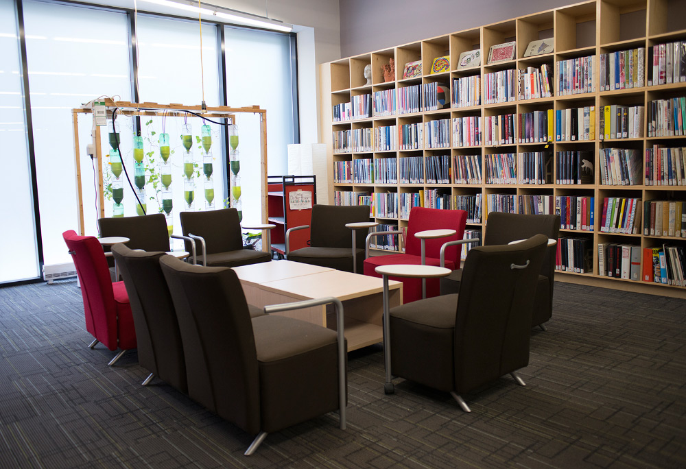 Image of Learning Zone lounge area, with armchairs surrounding a coffee table in the centre. In the background is a window farm indoor garden to the left and bookshelves to the right