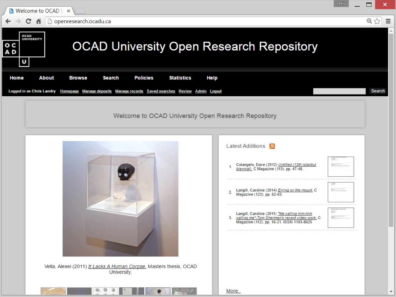 Screenshot of Open Research
