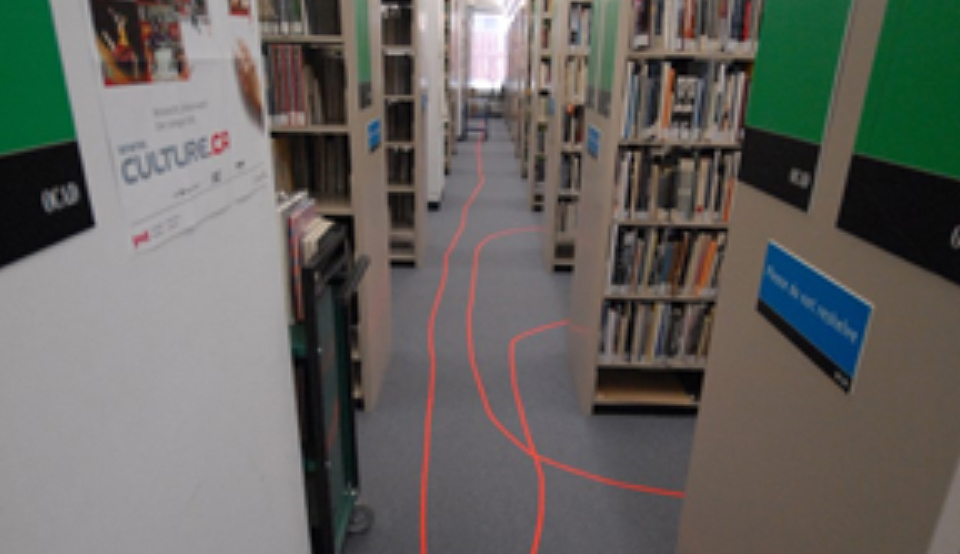 Diego Franzoni, Underlining Research, 2006, Masking Tape, Mixed Media Installation. Photo credit: OCAD U Library.
