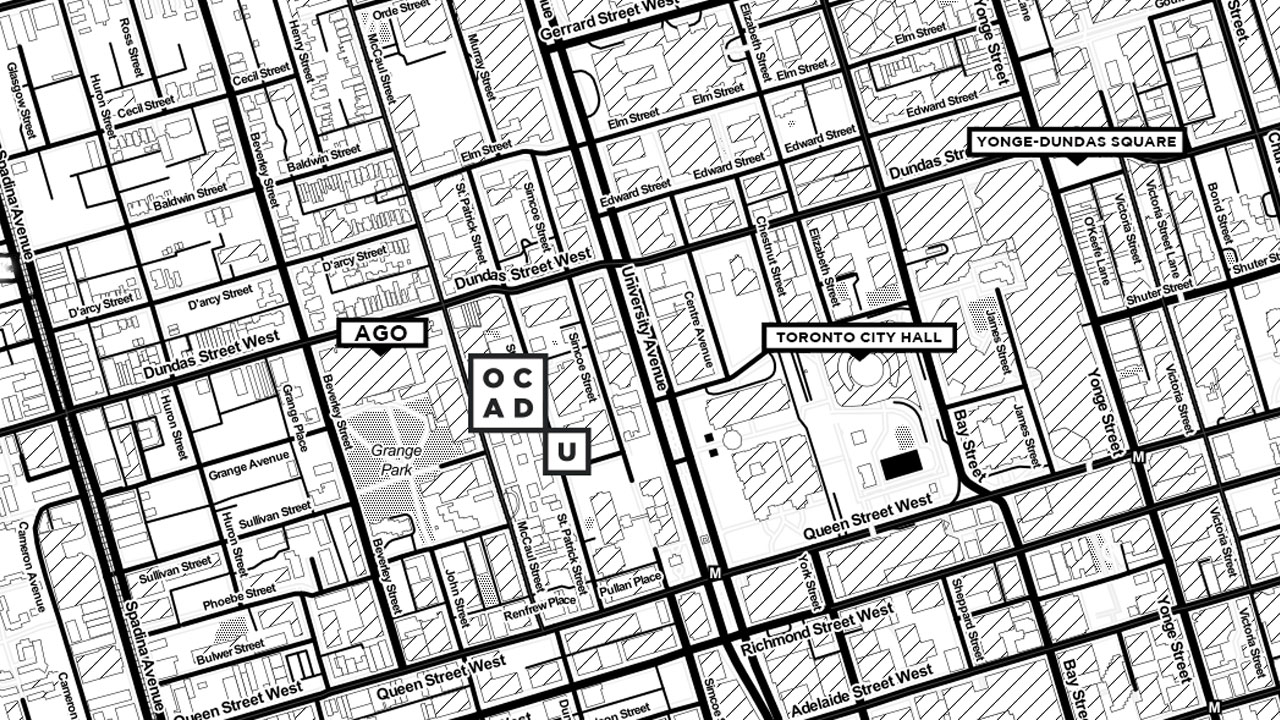 Map of OCAD campus and surrounding area