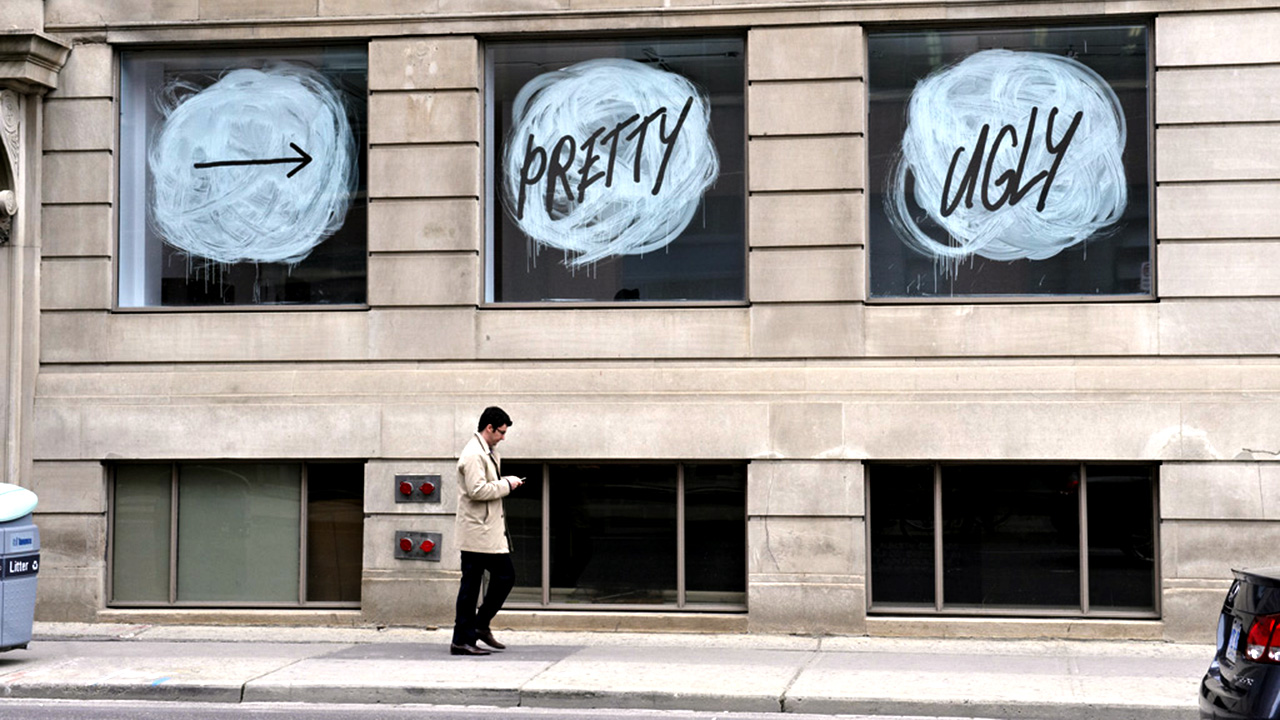 Window display of Pretty Ugly, exhibition at the Graduate Gallery, 2010. Photo by Lino Ragno.