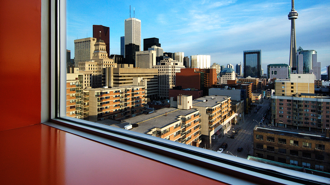 View of Downtown Toronto from the Sharp Centre. Photo by Richard Johnson.