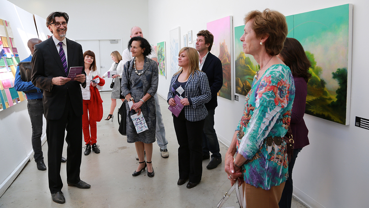 President's walk through at the 98th annual OCAD U Graduate Exhibition. Photo by Martin Iskander.