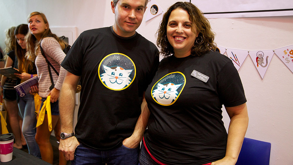 Academic advisers hanging out at O-Days, 2013, in Space Cat t-shirts. Photo by Sarah Mulholland.