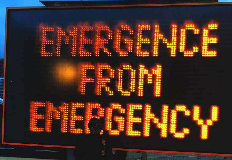 Emergence from Emergency, a message created by students on OCAD University's Creative Writing Program for display on traffic message board at Toronto's stackt Market
