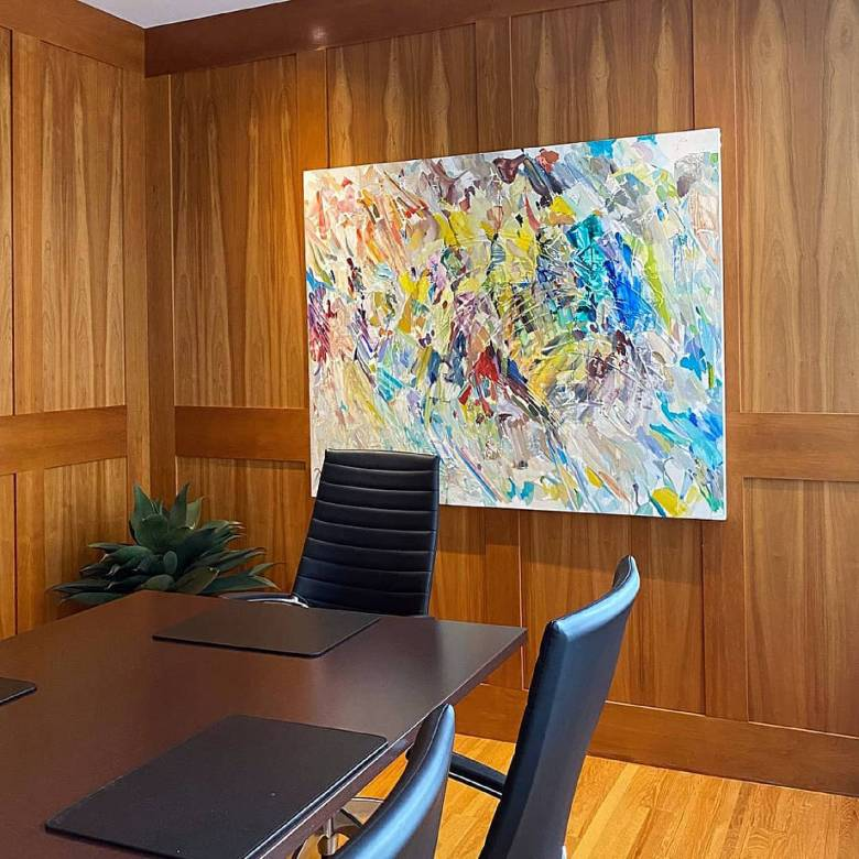 abstract oil painting in office