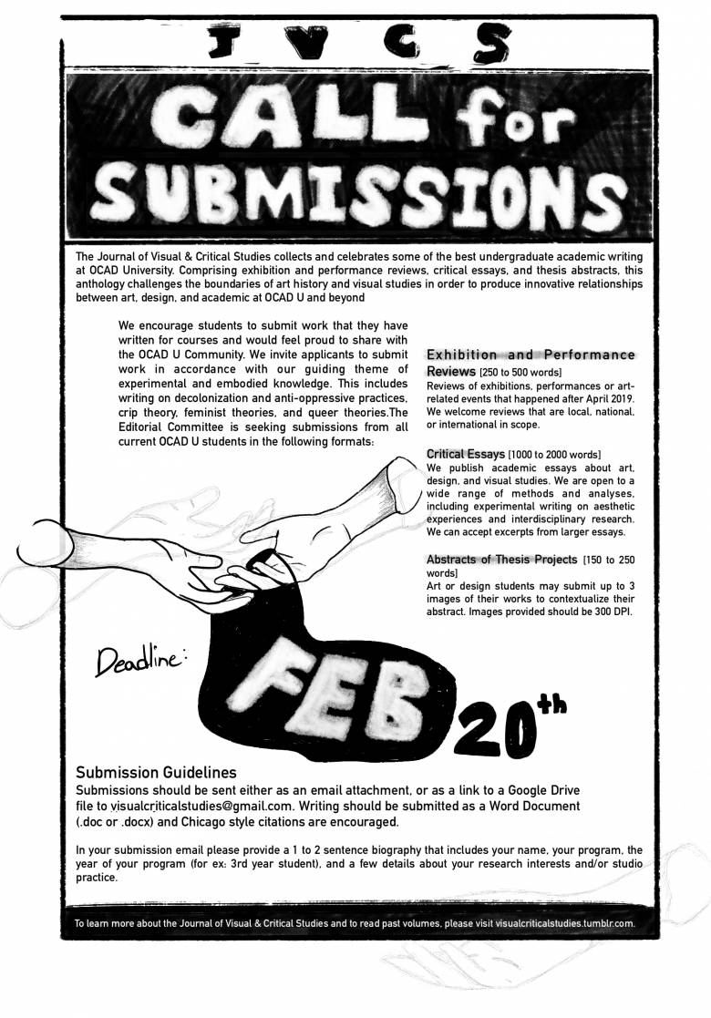 Poster for JVCS Call for Submissions 2020-21 pencil drawing of hands exchanging abstract/fluid object