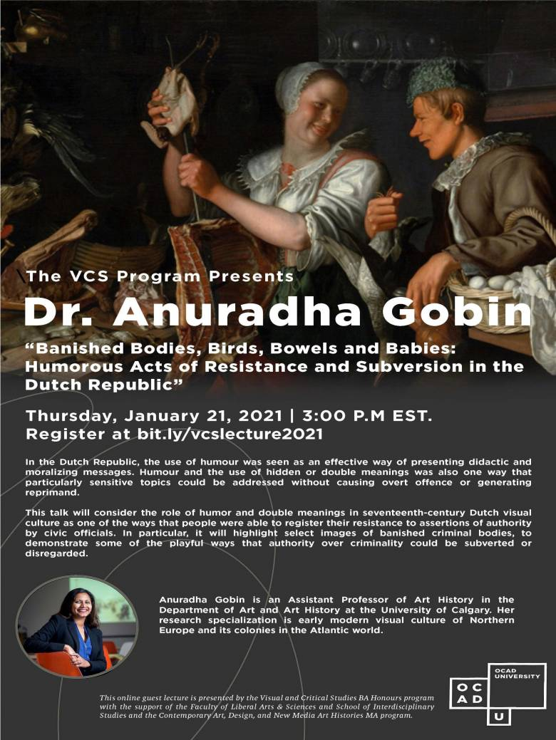 "Poster for Dr. Anuradha Gobin ""Banished Bodies, Birds, Bowels and Babies"" webinar"