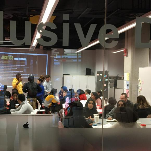 Image of Youth participants working in groups as part of the Creative Practice as Protest Workshop held at OCAD U in January 2020.